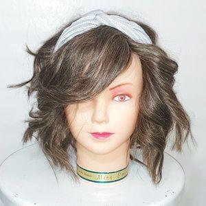 🍂 Gray & White Crossknot Headband